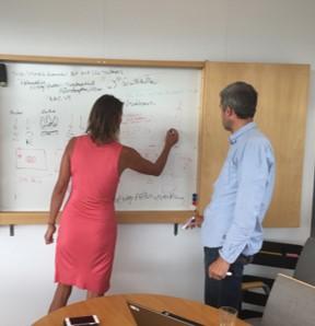 En person som står och skriver på en whiteboard-tavla. En annan person står och tittar på.