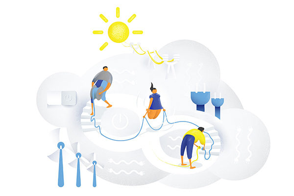 Illustration för att symbolisera elförsörjning i vardagen.