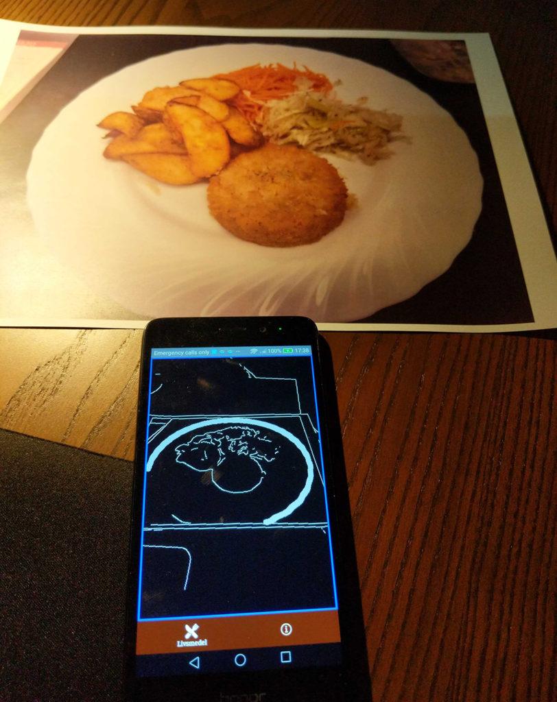Mobil som visar hur maten analyseras i appen.