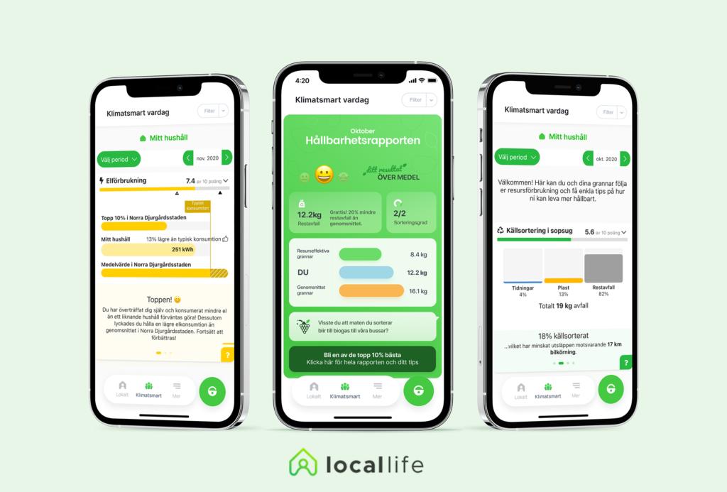 Illustration av tre mobiler som visar olika resultat från appen LocalLife.