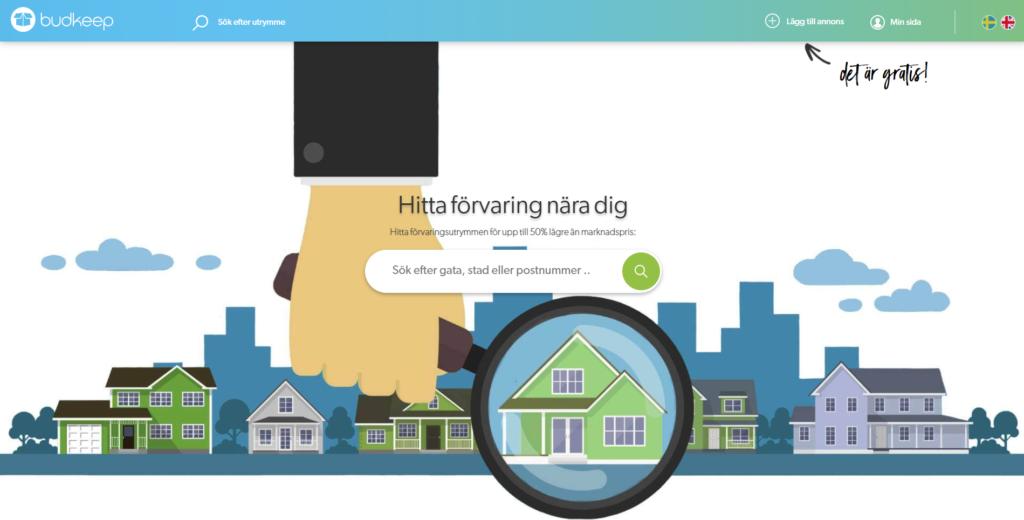 """Bild från Budkeeps websida, med illustrationer av flera hus på en gata med ett hus """"inzoomat"""" med ett förstoringsglas och rubriken """"Hitta förvaringsutrymme nära dig""""."""