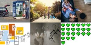 Sammansättning av sex bilder som representerar varje projekt
